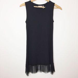 LOGO black sleeveless tunic chiffon ruffle bottom